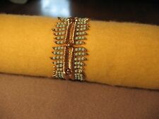 "Vintage Crown Trifari Fashion Panel Bracelet Turquoise Bead Gold Tone 6.5-6.75"""