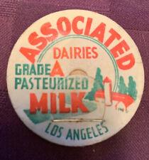 Vintage milk cap ASSOCIATED DAIRIES Grade A Pasteurized Milk Los Angeles, CA