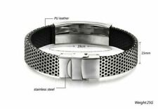 Bangle Black Leather Wristband Bracelet New Mens Fashion Stainless Steel Cuff