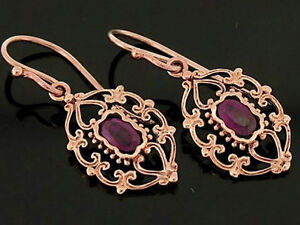 E069 - Solid 9K Rose Gold NATURAL Ruby Dangle  Earrings-Gorgeous Ornate Drops