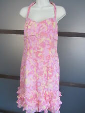 Ladies Dress Halter Ruffle Hem Pink Yellow SILK  Adorable Maggy London Sz 10