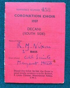 Antique Royal British Coronation Choir Ticket Rehearsal Card King George Queen