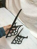 "Pair Antique 1800s  Cast Iron Snow Bird Bracket  Star Detail 12"" x 5"" X .5"""
