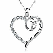 925 Sterling Silver Crystal Trinity Knot Heart Necklace Celtic Triquetra Pendant