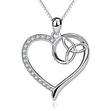 Cristal Argent Sterling 925 Trinity Knot Collier Coeur celtique Triquetra Pendentif