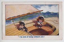 POSTCARD - comic children, rough seas boat, seasick theme, Inter-Art #1605