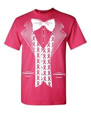 Pink Ribbon Tuxedo Costume T-Shirt Breast Cancer Awareness Shirts