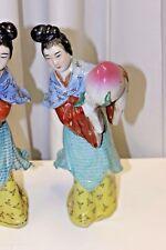 ANTIQUE Large Pair CHINESE PORCELAIN FIGURES / Women with Melon pair