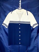 Vintage Sailor Style James Kenrob Polyester Knit Shirt Sleeve Button Up Top