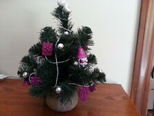 "Purple Passion lighted Christmas tree with ornaments and garland - 13"" H x 12""W"