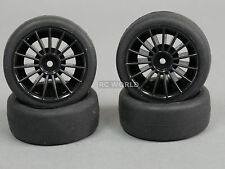 RC Car 1/10 WHEELS Tires Multi Spoke RACING Sticky SLICKS 3MM BLACK  -Set Of 4-
