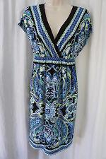 AGB Dress Sz M Black Blue Multi Color Sleeveless V Neck Geometric Pattern Casual