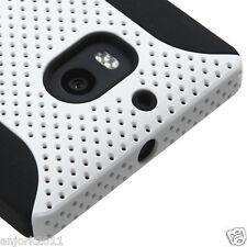 Nokia Lumia 929 Icon Hybrid Mesh Case Skin Cover Verizon White Black
