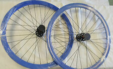 ORIGIN 8 TRACK 8 Fixed Gear Wheel Set Wheelset BLUE 42MM DEEP V