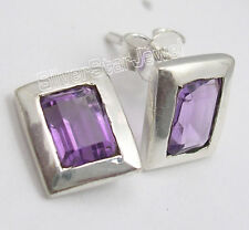 Richfeel Stud Post Earrings 1.0 Cm 925 Sterling Silver Sqaure Purple Amethyst