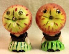Vintage Apple Face Salt & Pepper Shakers Anthropomorphic Ceramic Japan
