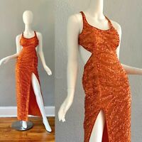 Precious Formals Orange Sequin Beaded Cut Out Wiggle Party Prom Formal Dress XS