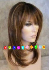 Charming long brown straight Health hair lady's wigs+wig cap