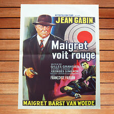 JEAN GABIN GILLES GRANGIER AFFICHE CINEMA BELGE 35X55 CM MAIGRET VOIT ROUGE