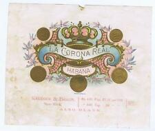 La Corona Real, habana, crown, Sample Cigar Box Label, Krueger & Braun #349