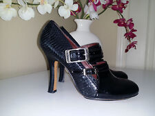 MODERN VINTAGE Black Snakeskin/ Patent Leather Buckle Pumps Sz. 37,5M (7,5M)
