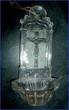 Religieux Ancien Bénitier en Cristal Moulé XIX eme Christ crucifix croix