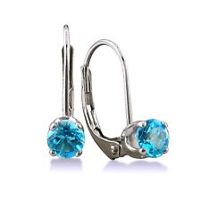 14K WHITE GOLD 1/2CT SOLITAIRE ROUND BLUE TOPAZ LEVERBACK EARRINGS