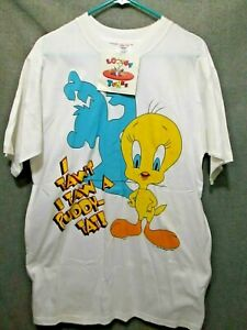 VTG/RETRO NOS TWEETY BIRD LOONEY TUNES SAW A PUDDY CAT T-SHIRT LARGE ADULT TAG