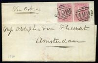Channel Islands: 1858 SG66 Pair 4d Rose Jersey *409* to Amsterdam