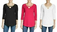 Eddie Bauer Ladies ¾ Sleeve Cross-Front Tunic Soft Light Travel/Casual Blouse