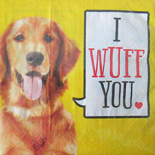 PET PARTY I Wuff You SMALL NAPKINS (20) ~ Birthday Supplies Beverage Dessert Dog