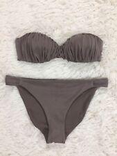 H&M Brown Shirred Strapless Bikini Set Size 8