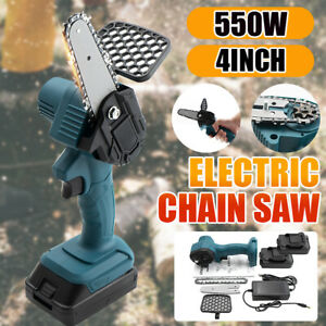 """4"""" Protable Mini Chainsaw 24V Cordless Electric Chain Saw One-Hand + 2x battery"""