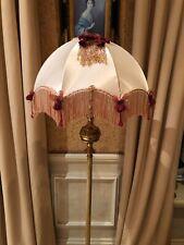 Vintage Victorian Traditional Downton Abbey Cream Peach Silky Satin Lampshade