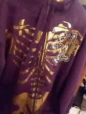 Skeleton Hoodie Jacket Zipperhead Unisex Plum/Gold Size 2XL Adults
