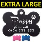 Extra Large 5cm Bone Pet ID Tag Dog Puppy Personalised Laser Engraved Aluminium