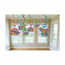 DINOSAUR KID BIRTHDAY PARTY SUPPLIES FOIL SWIRL HANGING DECORATIONS 12 PIECES