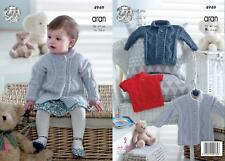 King Cole 4949 Knitting Pattern Baby Childrens Coat and Sweaters in Comfort Aran