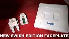 NEW SWISH DOUBLE 2 X CAT5e MOD WALL OUTLET FACE PLATE RJ45 NETWORK SOCKET TWIN