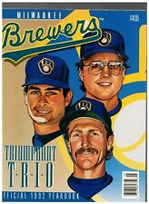 1992 Milwaukee Brewers Official Yearbook Robin Yount Paul Molitor Jim Gantner