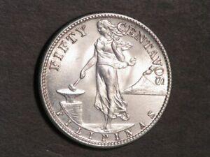 PHILIPPINES 1944S 50 Centavos Silver BU