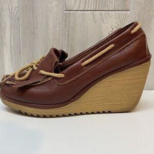 Vintage 70s CHEROKEE Platform Wedge Boho Summer Shoes Sandals