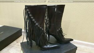 GIANMARCO LORENZI EU40 US9,5 pointy toe high heels western leather ankle boots