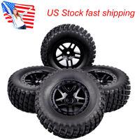 4Pcs Short Course Rubber Tire Wheel Rim For TRAXXAS SLASH RC 1:10 Truck 12mm Hex
