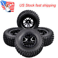 4Pcs Short Course Rubber Tire Wheel Rim For TRAXXAS SLASH RC 1:10 Truck 12mm Hex