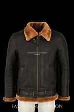 SQUADRON Mens Sheepskin Jacket Aviator B3 Bomber Brown Ginger Fur Leather Jacket