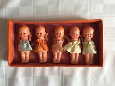 "Dionne Quintuplets Set 3"" Composition Dolls in Original Box Made in Japan"