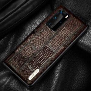Retro Splice Genuine Leather Case For Huawei P40 P30 Lite Mate 40 Pro Y8P Cover