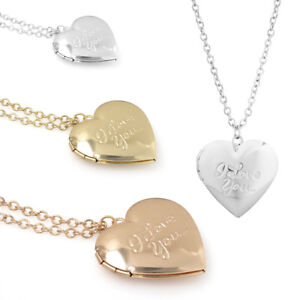 Personalised love you heart locket photo pendant necklace Gift Present Memory