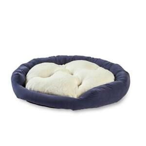 Happy Hounds Dog Bed Small Denim Reversible Heavy Duty Microfiber Fabric Blue